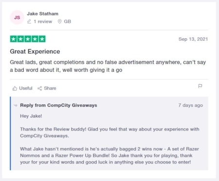 Jake Statham Review CompCity Giveaways